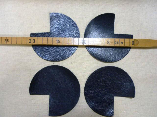 画像2: バッグ用本革パーツ 角当て革【M】 黒/ブラック レザーパーツ