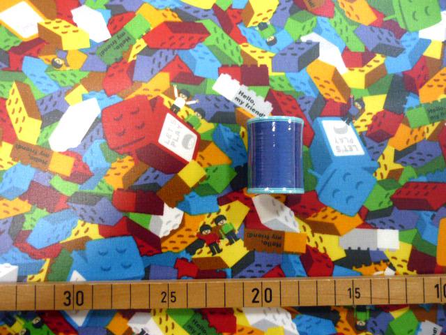 画像1: 【ラミネート】041801■約30cmハギレ ブロックがいっぱい カラフル