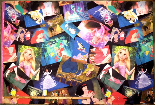 画像1: 【サテン】082421■ハギレ★ディズニープリンセス 名シーン柄 デジタルプリント ディズニー