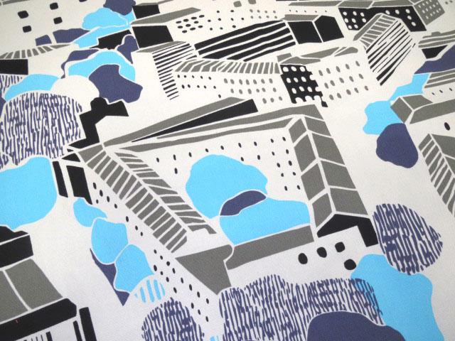 画像1: 【オックス】1025208■65cmハギレ  フィンレイソン 北欧の街並み C ブルー系 ダブル幅