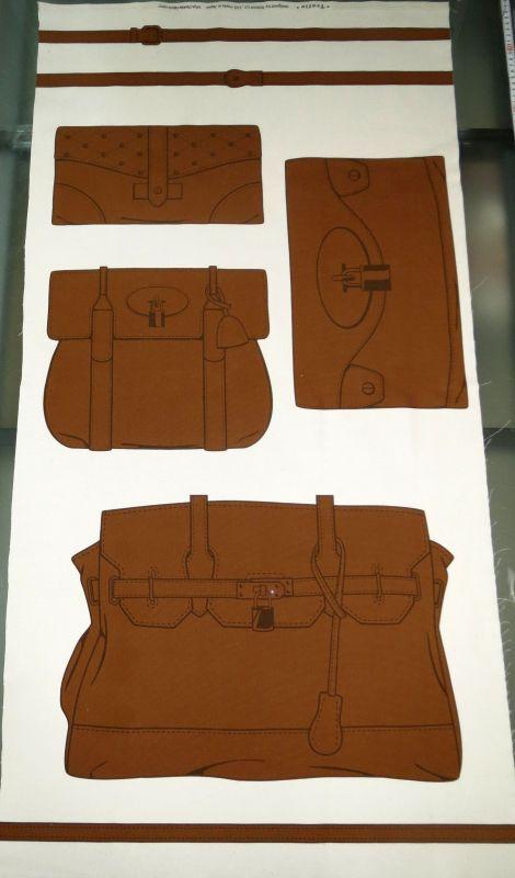 画像1: 【オックス】約58cmパネル単位続けてカット☆4種類のバッグ柄+作図付き☆