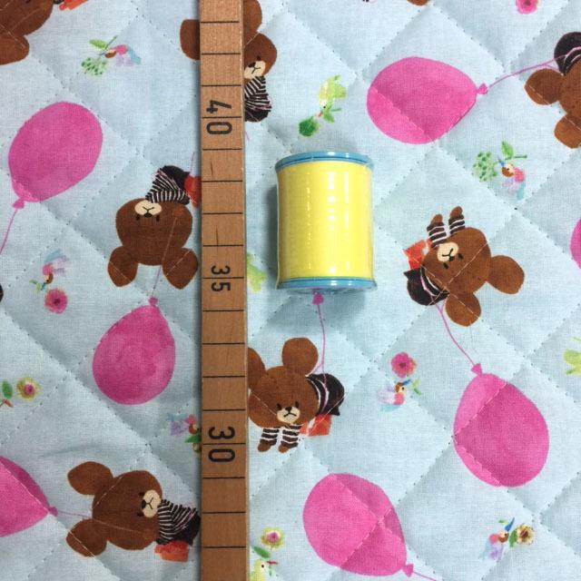 画像1: 【キルト】082910■約35cmハギレ バルーンでふわふわジャッキー水色 くまのがっこう