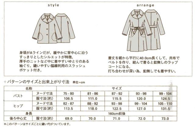 画像2: §【型紙】 mパターン研究所 ワイドカラーAラインジャケット(大人女性用)