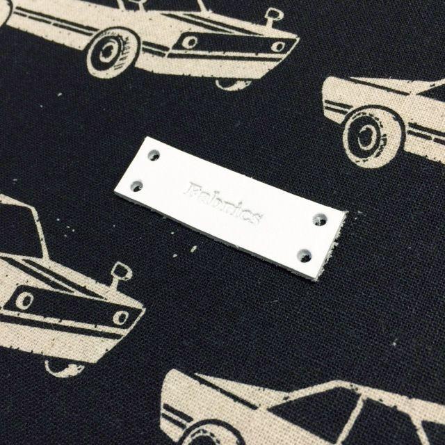 画像2: ファブリックスロゴ革タグ白 縫いつけタイプ5枚セット