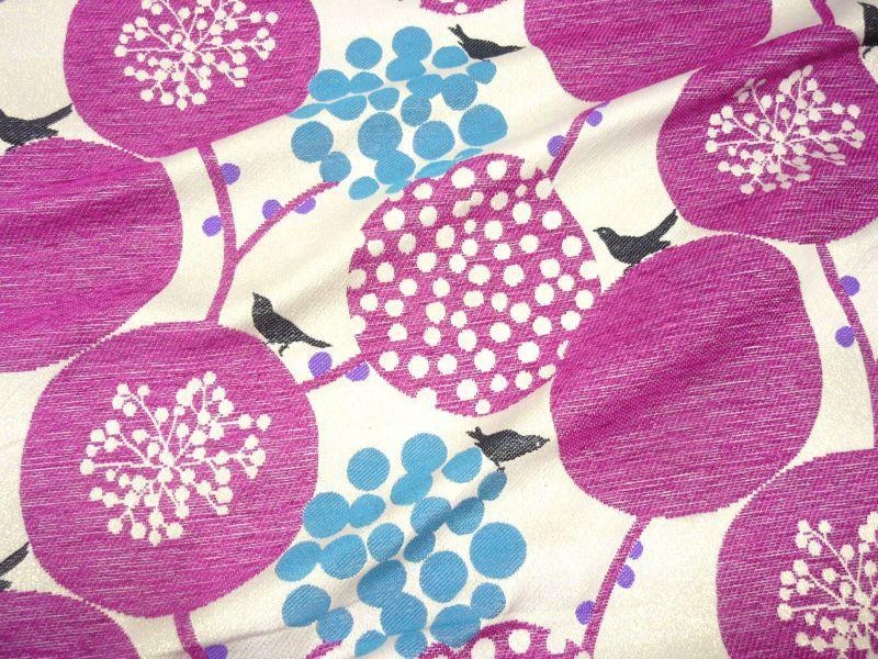 画像1: 【ジャガード】041802■約75cmハギレ ビッグベリー  ピンクの実 echino2013