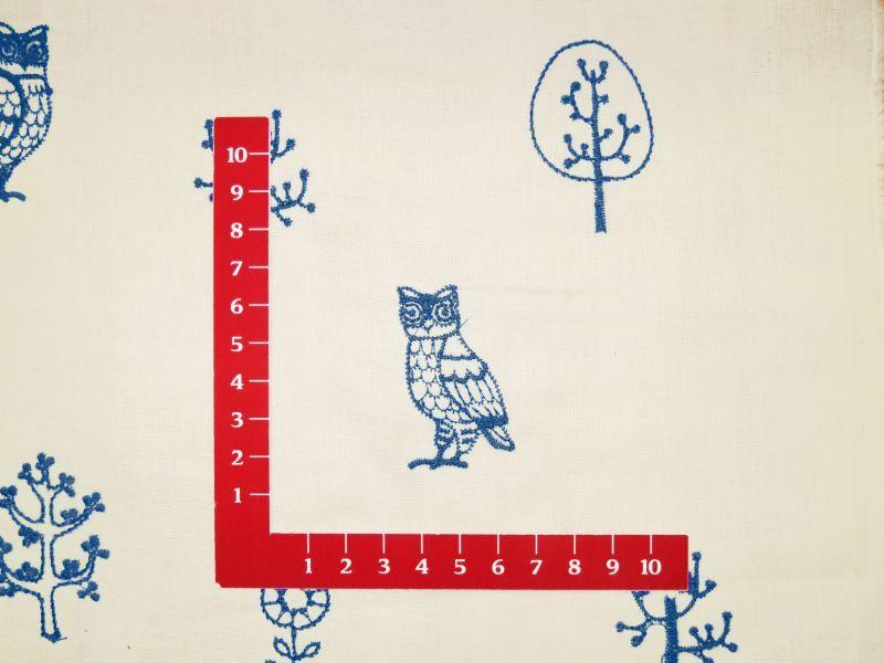 画像3: 【ダブルガーゼ】051600■約85cmハギレ フクロウ フォレスト刺繍柄 B 生成り地に青刺繍