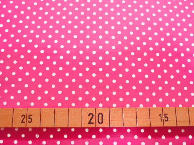 画像1: 【ブロード】◆約1mハギレ 水玉  濃いピンク地に白水玉 90cm巾
