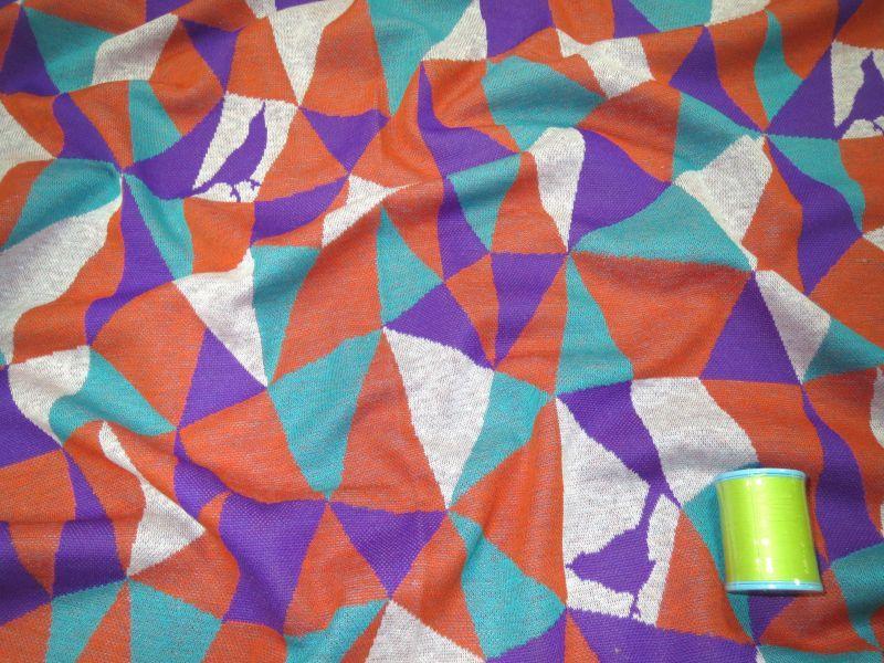 画像1: 【ニット】101900■約60cmハギレ モザイク A サーモン&パープル  echino