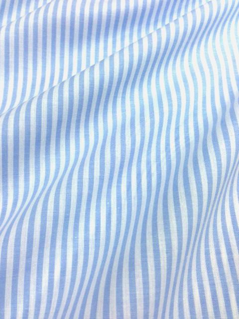 画像1: 【先染めストライプ】080405■約1.2mハギレ 3mm巾 薄手 サックス