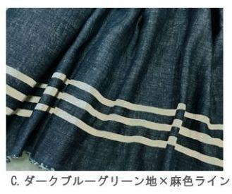 画像1: §【ガーゼ】091228■約30cmハギレサイドボーダーC/ダークブルーグリーン地×麻色ライン