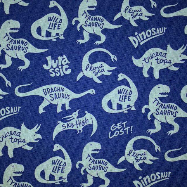 画像1: 【10番キャンバス】041203■約98cmハギレ 恐竜スタンプ柄 ダークブルー地にグレー恐竜