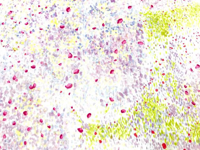 画像1: 【つやなし裏ラミネート】◆約40cmハギレ バーズアイ E 白地にピンク×ラベンダー naniIRO