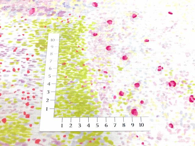 画像2: 【つやなし裏ラミネート】◆約40cmハギレ バーズアイ E 白地にピンク×ラベンダー naniIRO