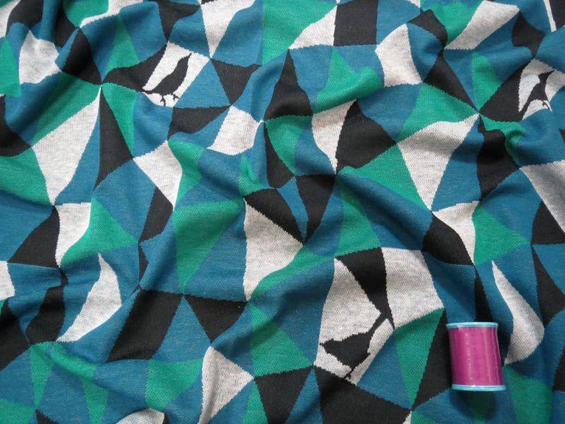 画像1: 【ニット】101903■約65cmハギレ モザイク  ブルー&グリーン echino