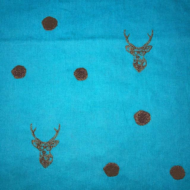 画像1: 【キャンバス】052526■ハギレ echino刺繍 鹿 ブルー6