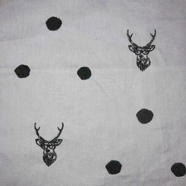 画像1: 【キャンバス】081700■約95cmハギレ echino刺繍 鹿グレー