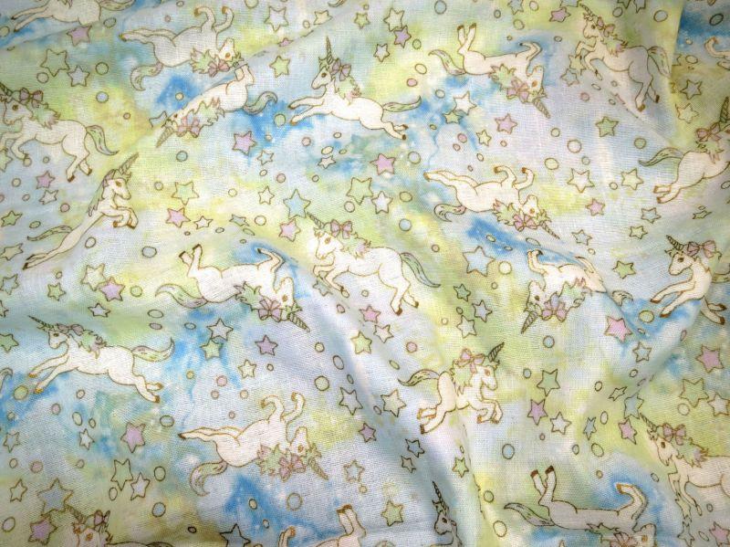 画像1: 【ダブルガーゼ】041200■約33cmハギレ ユニコーン柄水色 トレフル