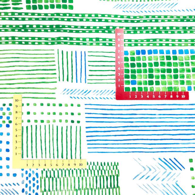 画像2: 【ガーゼ】0503103■約48cmハギレ テルテン BUILDING 白地に緑系 Torten 紙野夏紀