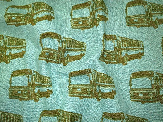画像1: 【綿麻キャンバス】060015■約27cmハギレ  echinoバス ブルーグリーン エチノbus