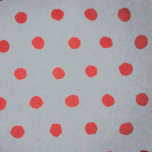 画像1: 【綿麻キャンバス】072901■約48cmハギレ NEW水玉 Bグレー地×朱赤玉echino