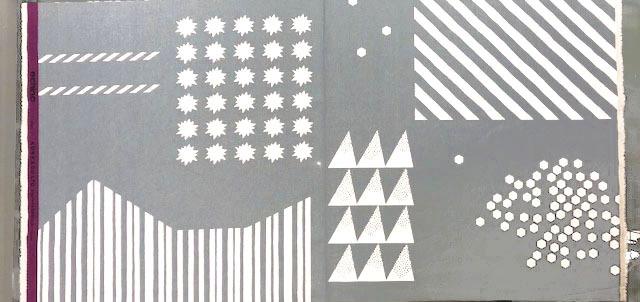 画像1: 【綿麻キャンバス】 06400■約55cmハギレ シェイプ ニュートラル&キラキラ グレー地×白柄