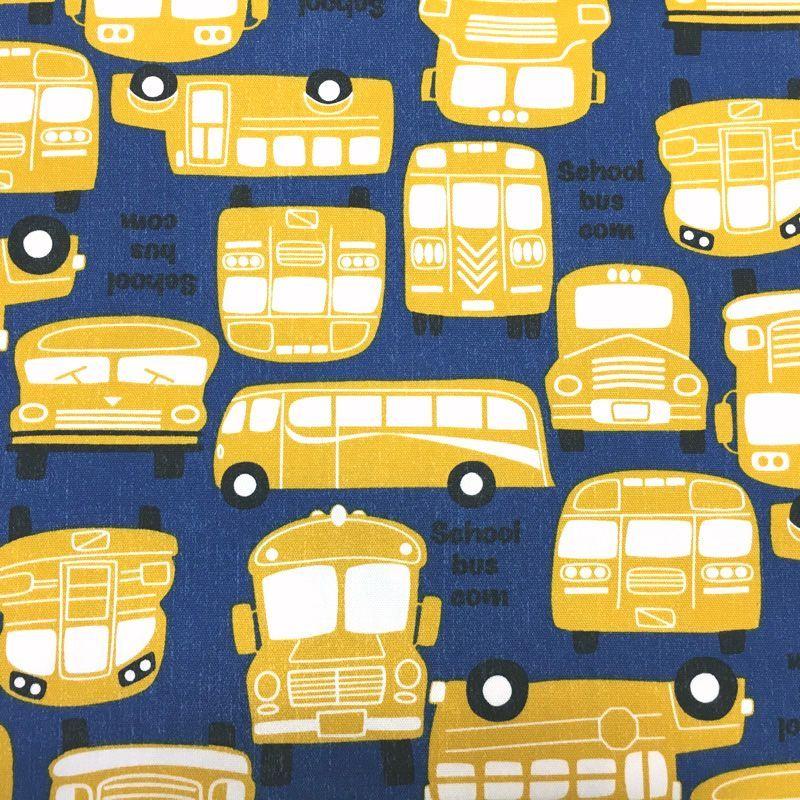 画像1: 【オックス】072502■約1mハギレ スクールバス柄 ネイビー