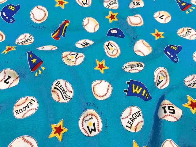 画像1: 【オックス】072705■約38cmハギレ 野球 ボールとスパイク柄 青