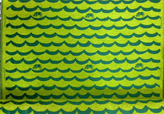 画像1: 【ジャガード】081814■約50cmハギレ リノ 波形ボーダー&サイ グリーン地 echino
