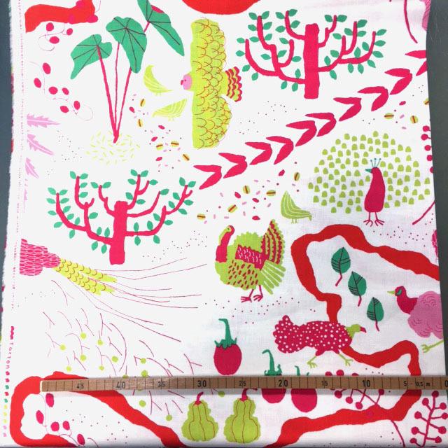 画像1: 【10番モーリークロス】082001■約35cmハギレ 私の庭  ピンク系 テルテン紙野夏紀