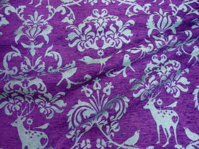 画像1: 【ジャガード】082119■約35cmハギレ クラシックアニマルズ 紫 echino