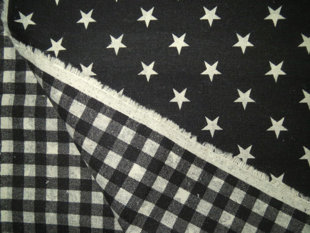 画像1: 【綿麻キャンバス】082102■約40cmハギレ 星とチェックのリバーシブル 黒