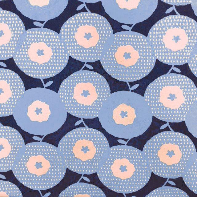 画像1: 【綿麻キャンバス】08403■約50cmハギレ 北欧風コロンとした大きな丸いお花柄 紺地