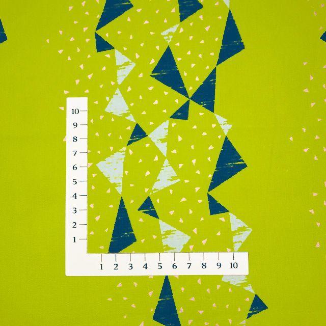 画像3: 【綿麻キャンバス】082408■約35cmハギレ トライアングル タユトウ黄緑