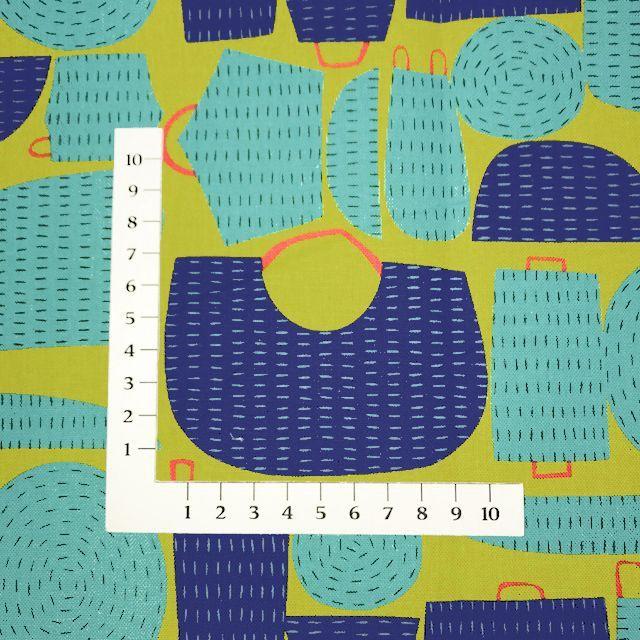画像2: 【綿麻キャンバス】082402■約50cmハギレ バスケット タユトウ 黄緑地