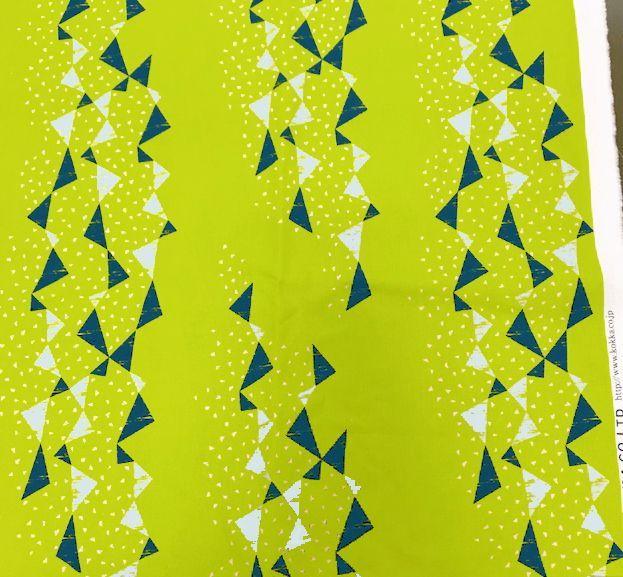 画像1: 【綿麻キャンバス】082408■約35cmハギレ トライアングル タユトウ黄緑