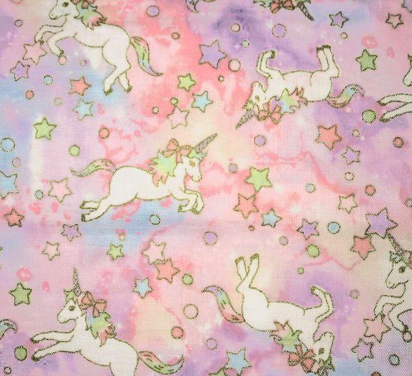 画像2: 【ダブルガーゼ】082700■約48cmハギレ ユニコーン柄 ピンク トレフル