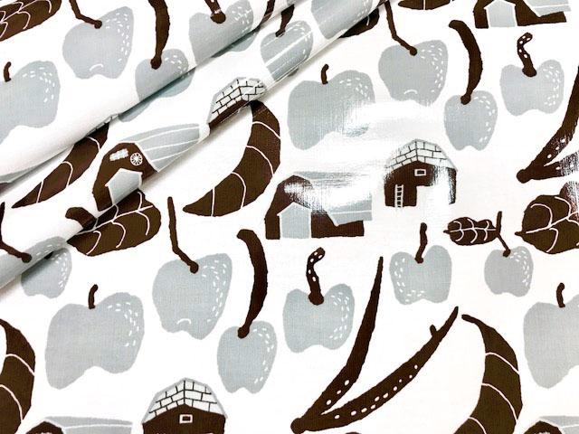 画像1: 【つやありラミネート】083000■約28cmハギレ テルテン ファーム 作物と小屋 白地×茶×グレー  紙野夏紀