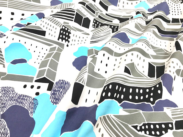 画像1: 【 ダブル幅オックス】083109■約50cmハギレ フィンレイソン  北欧の街並み ブルー系