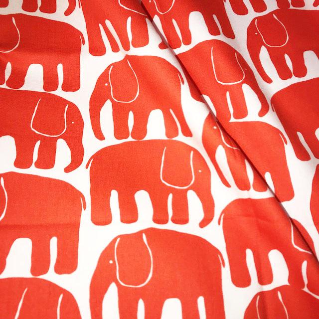 画像1: 【オックス】083106■約50cmハギレcmハギレ エレファンティ シュ赤 フィンレイソン 象(ぞう )