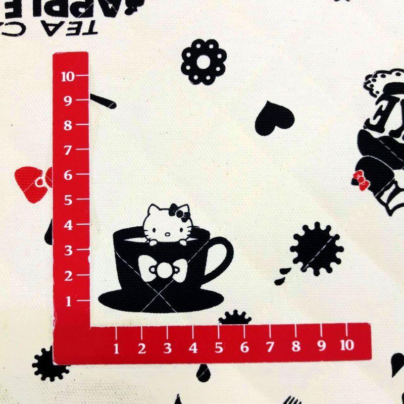 画像3: 【キルト】090102■約48cmハギレ キティ 大きなデッシュ型英字 生成り地