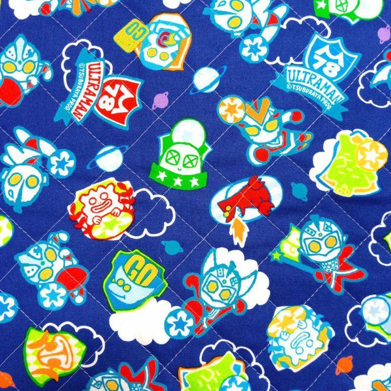 画像1: メール便OK【キルト】090101■約48cmハギレ ウルトラマン デフォルメサッカーブルー