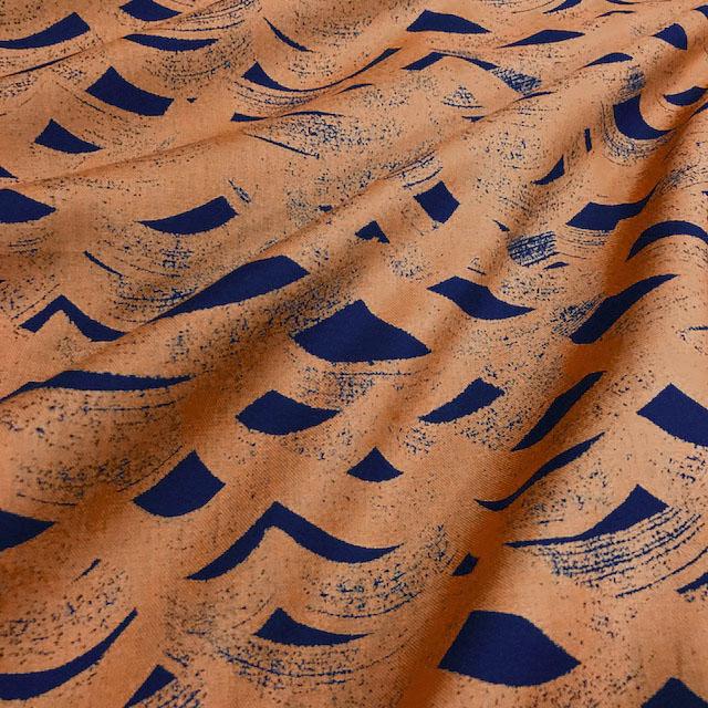 画像1: 【40ビエラ】090206■約48cmハギレ 波もよう 紺にオレンジの波 ライネ