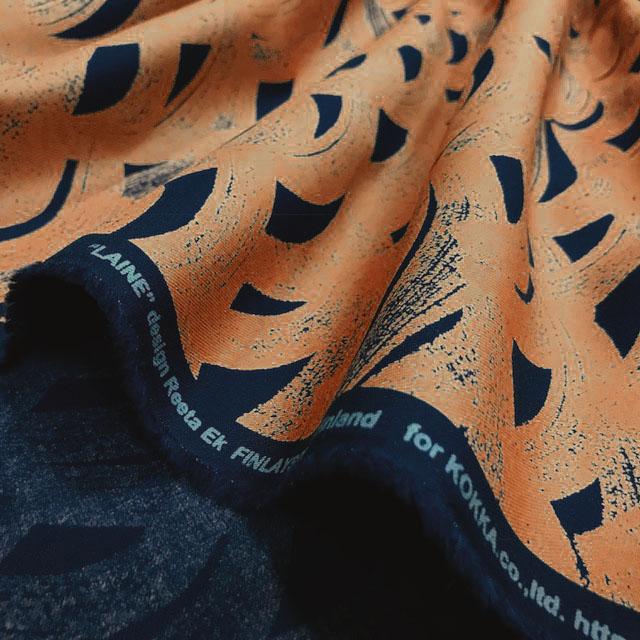 画像2: 【40ビエラ】090206■約48cmハギレ 波もよう 紺にオレンジの波 ライネ