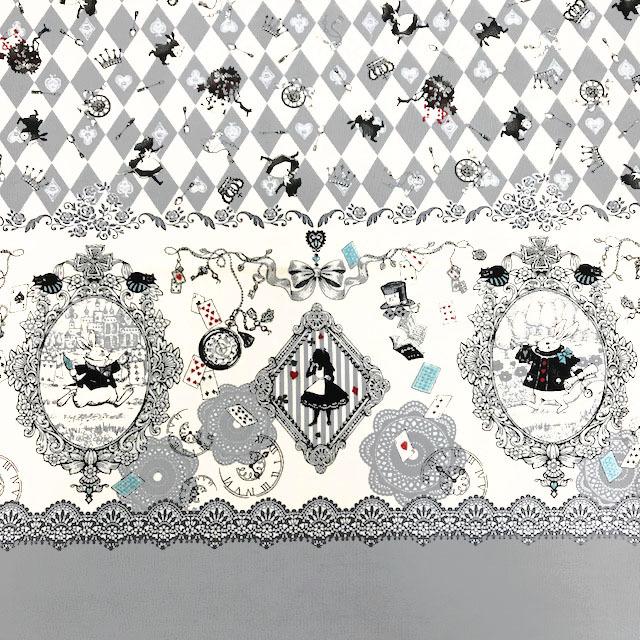 画像1: 【オックス】092603■約58cmハギレ アリスシルエットダイヤ 柄 グレー