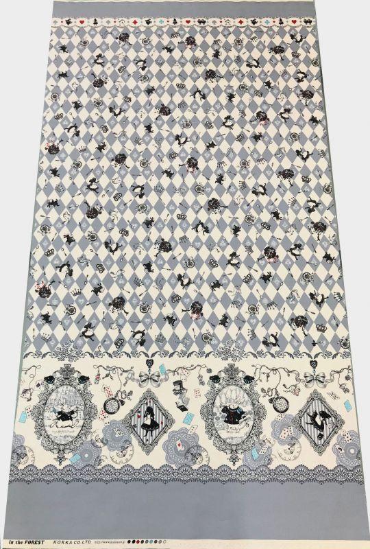 画像2: 【オックス】092603■約58cmハギレ アリスシルエットダイヤ 柄 グレー