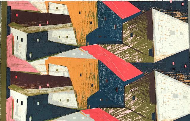 画像1: 【30ビエラ】092612■約75cmハギレ KESHIKI 大きな家 サーモンピンク系