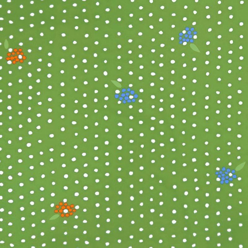 画像1: 【オックス】102507■約58cmハギレ ベリーポチョ D.抹茶地×オレンジ&ブルーベリー Anu Tuominen×Naomi Ito