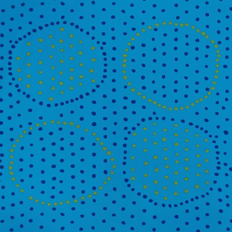 画像1: 【オックス】102506■約58cmハギレ サークルポチョ C.青地×黄緑&紺水玉 Anu Tuominen×Naomi Ito
