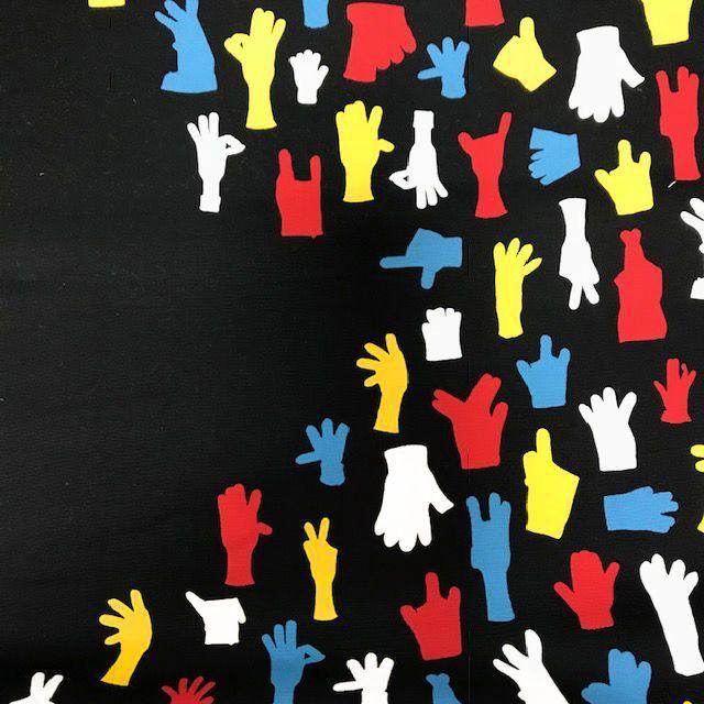 画像1: 【オックス】102502■約58cmハギレ 手袋 D.黒地×赤&マリンブルー手袋 Sormin Anu Tuominen×Naomi Ito