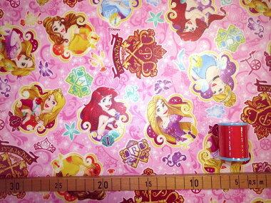 画像2: 【ラミネート】111703■約50cmハギレ プリンセスの鍵(ラメ入り)総柄 ディズニー